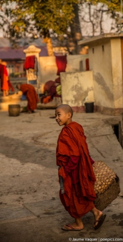 Budhist novice monks in a monastery, Inle Lake, Myanmar (Burma)